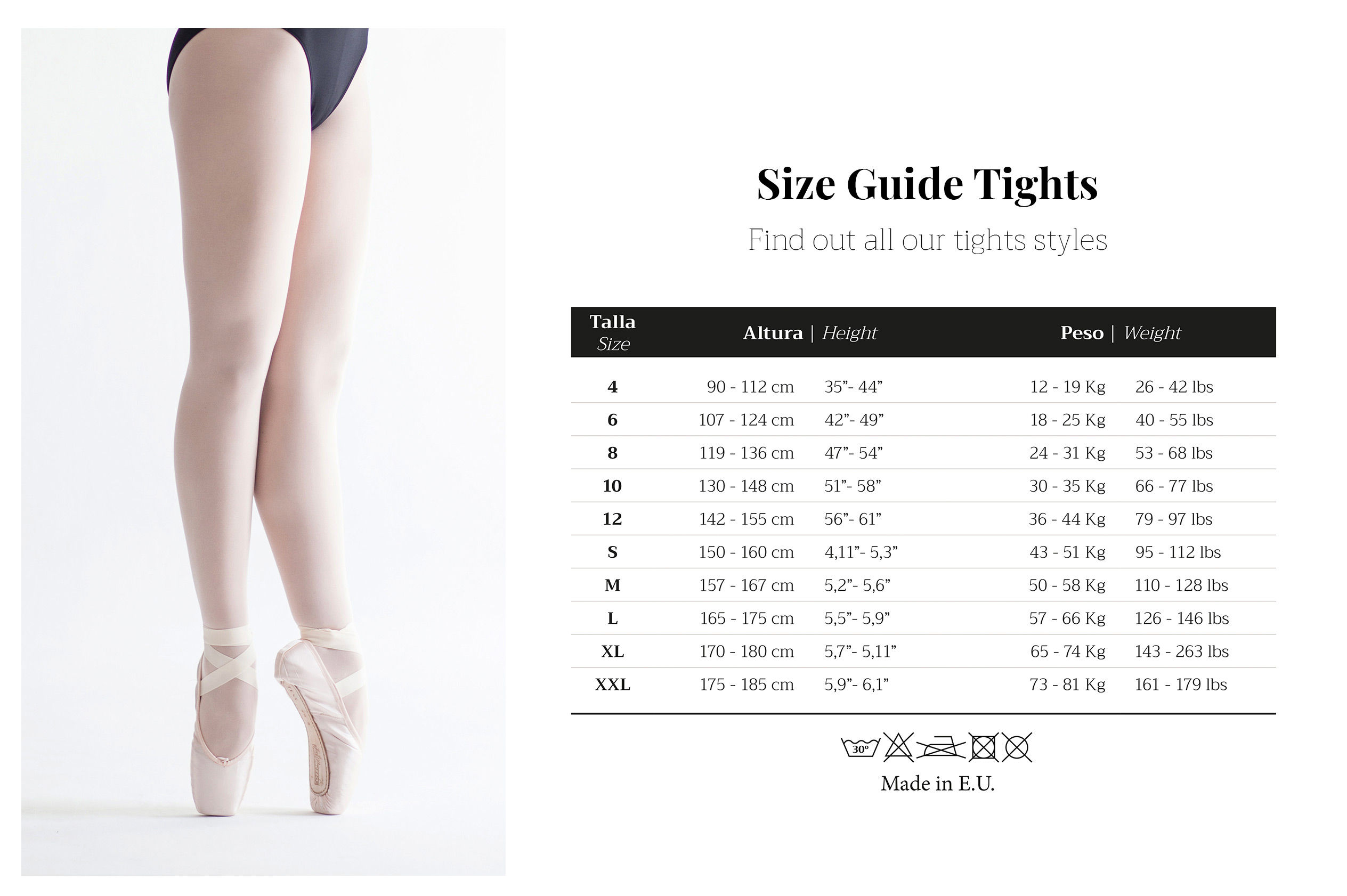 Size guide tights